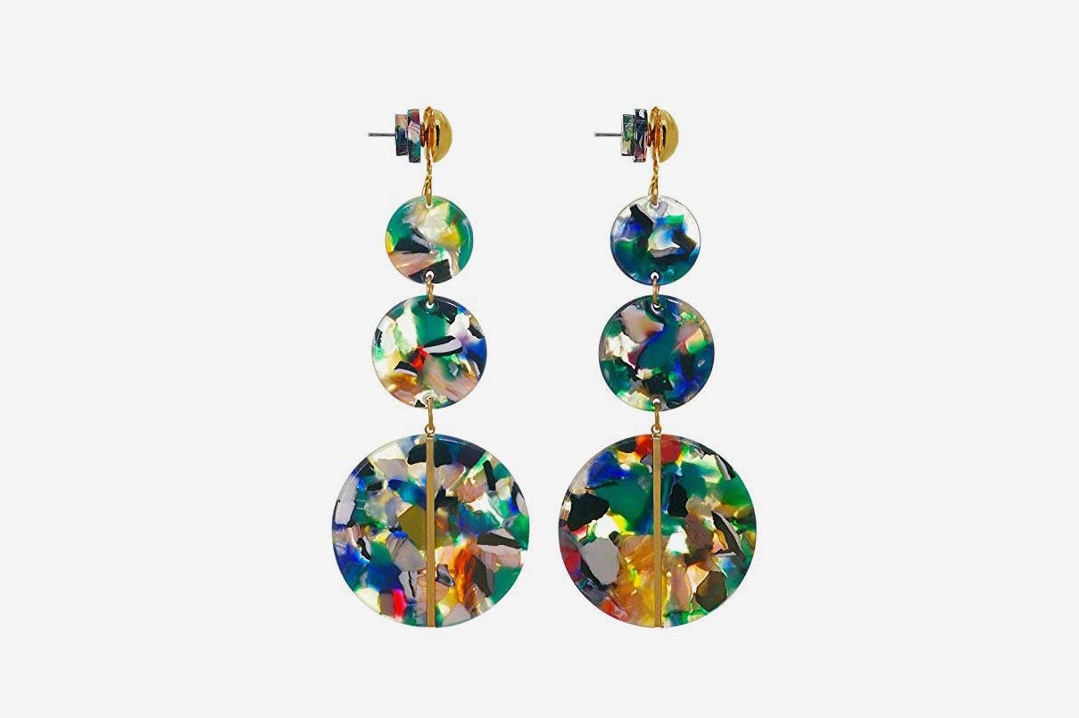 Jinling Floral Print Acrylic Drop Dangle Earrings Summer Beach Earrings