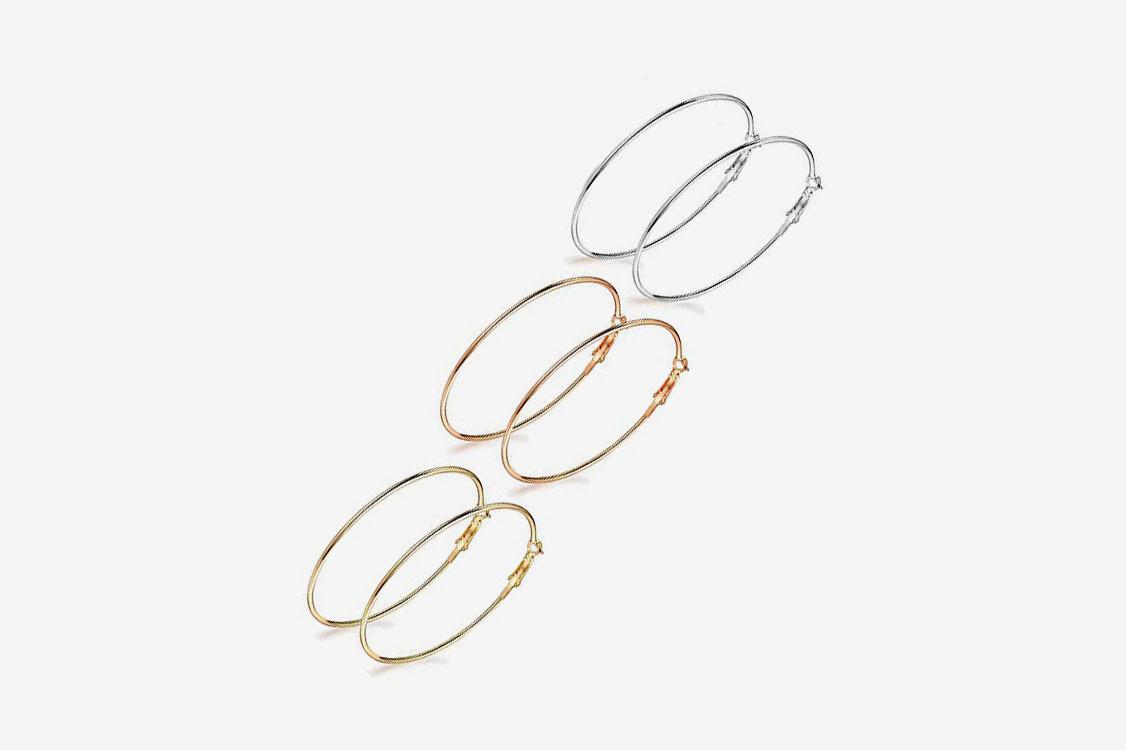 Holfeun 3 Pairs Big Hoop Earrings, Stainless Steel Hoop Earrings