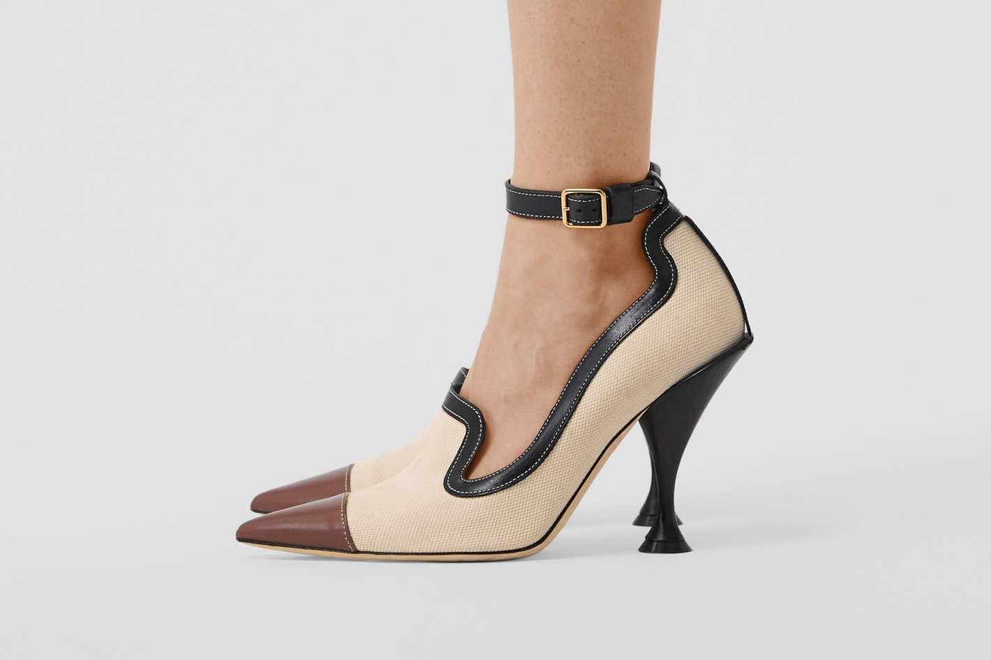 Cotton Canvas and Leather Point-toe Pumps