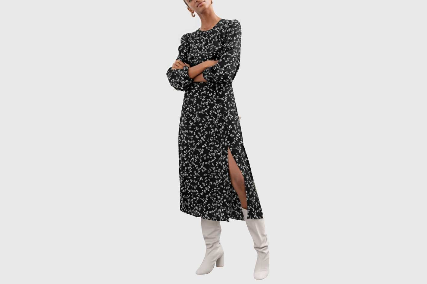 & Other Stories Floral Long Sleeve Midi Dress