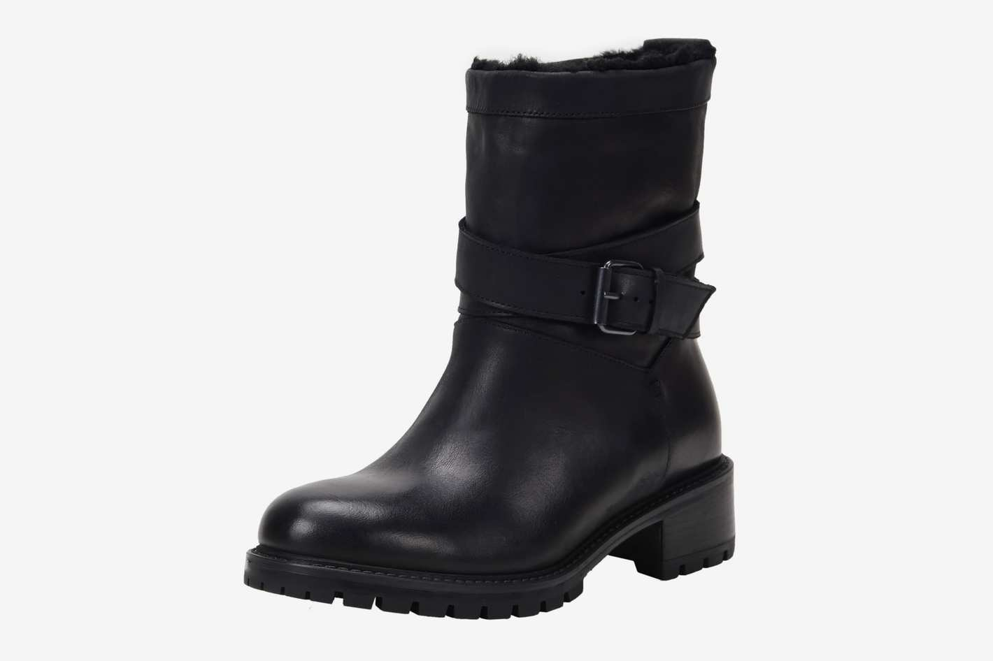 Ross & Snow Genuine-Shearling-Lined Moto Boot