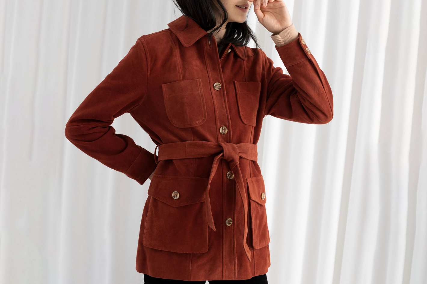 & Other Stories Belted Suede Workwear Jacket