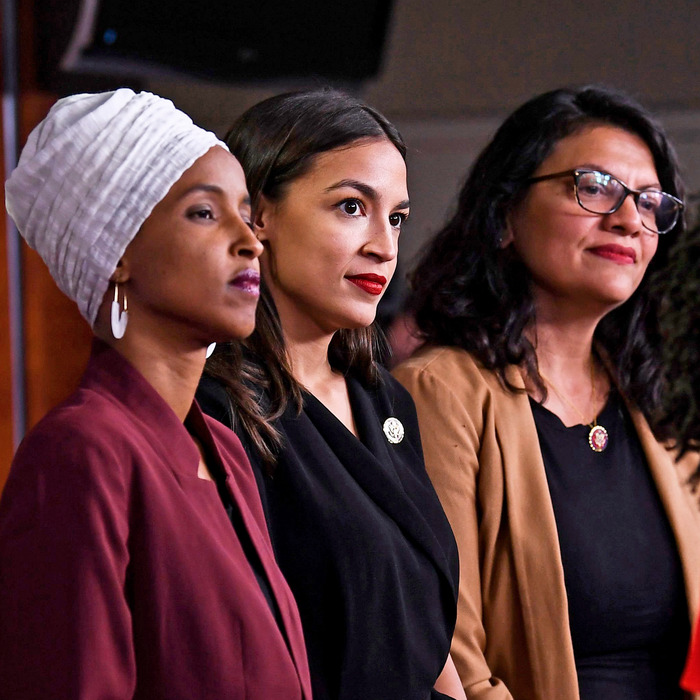 Ilhan Omar, Alexandria Ocasio Cortez, and Rashida Tlaib.