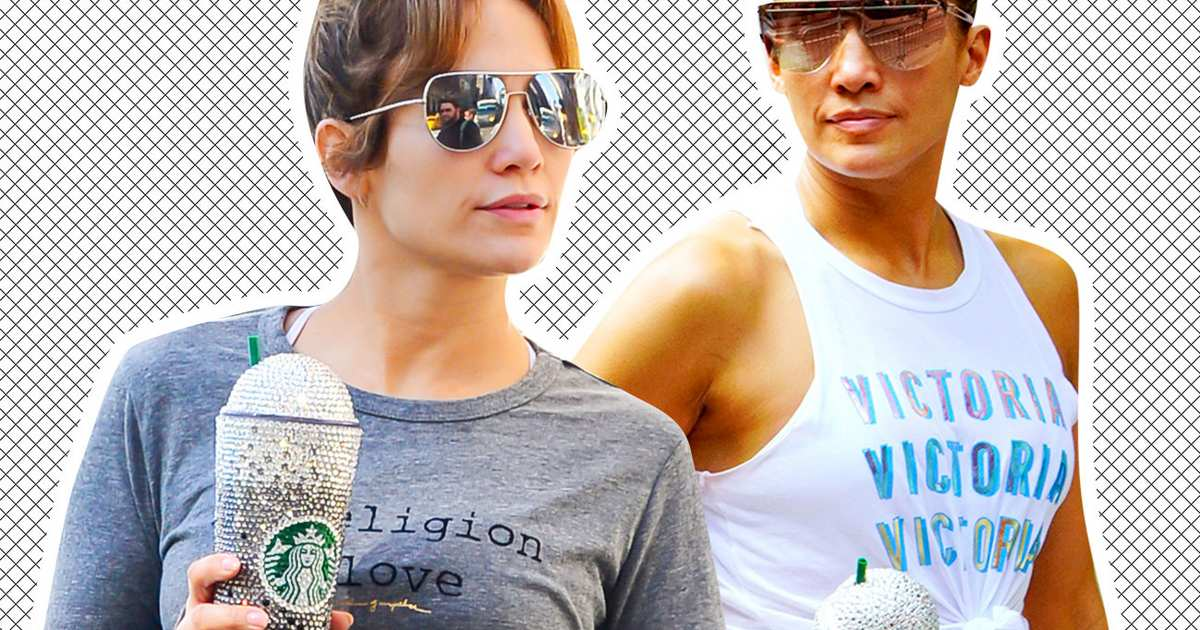 I Love J.Lo's Devotion to This Glittery Starbucks Cup