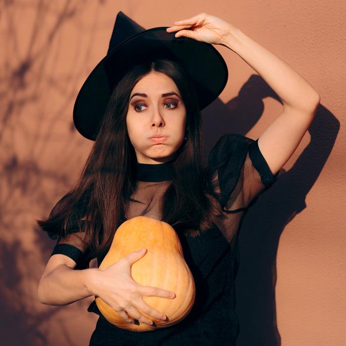 Woman celebrating Halloween.