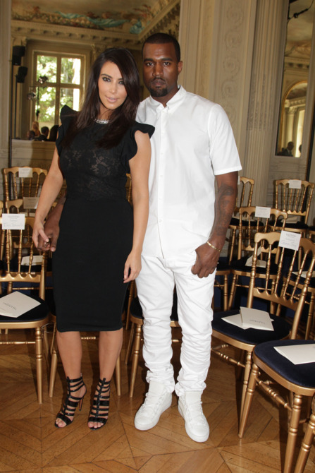 Kim Kardashian and Kanye West attend the Valentino Haute-Couture Show as  part of Paris