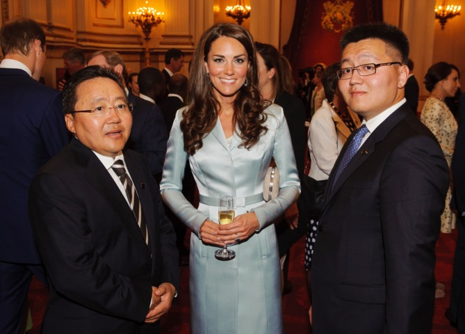 Catherine (C), Duchess of Cambridge, poses with President of Mongolia  Elbegdorj Tsakhia