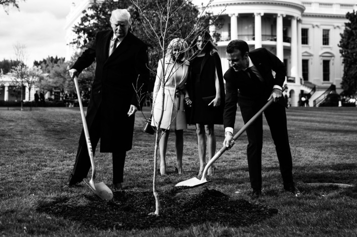 Donald Trump and Emmanuel Macron planting a tree.