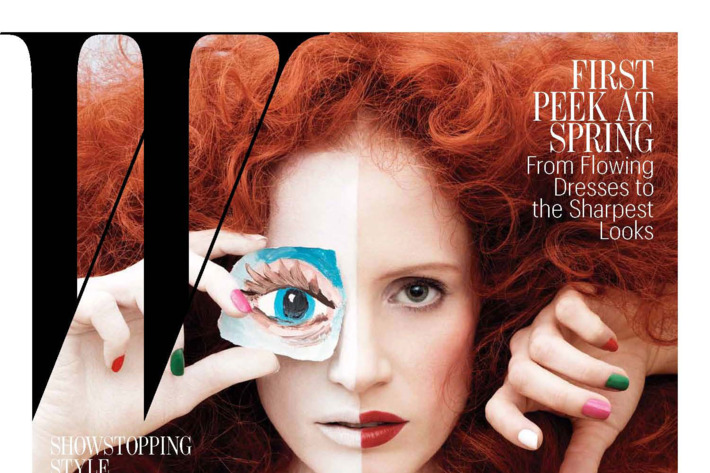 "Jessica Chastain, with George Condo's ""Abstract Conversations,"" photographed by Max Vadukul."