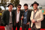 LOS ANGELES, CA - FEBRUARY 10: (L-R) Musicians Ben Lovett, Marcus Mumford, 'Country' Winston Marshall and Ted Dwane of Mumford & Sons attends the 55th Annual GRAMMY Awards at STAPLES Center on February 10, 2013 in Los Angeles, California. (Photo by Christopher Polk/Getty Images for NARAS)